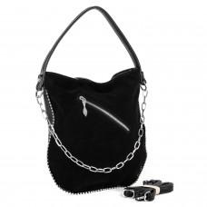 Сумка женская кожаная замшевая черная торбочка Polina
