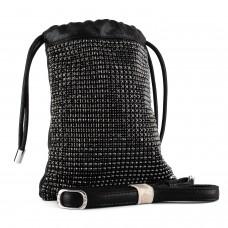 Сумка женская черная сатин стильная оригинальная с камнями Polina