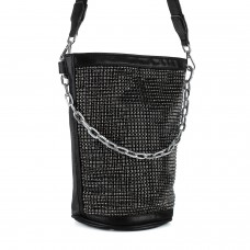 Сумка женская черная торбочка сатин с камнями Polina