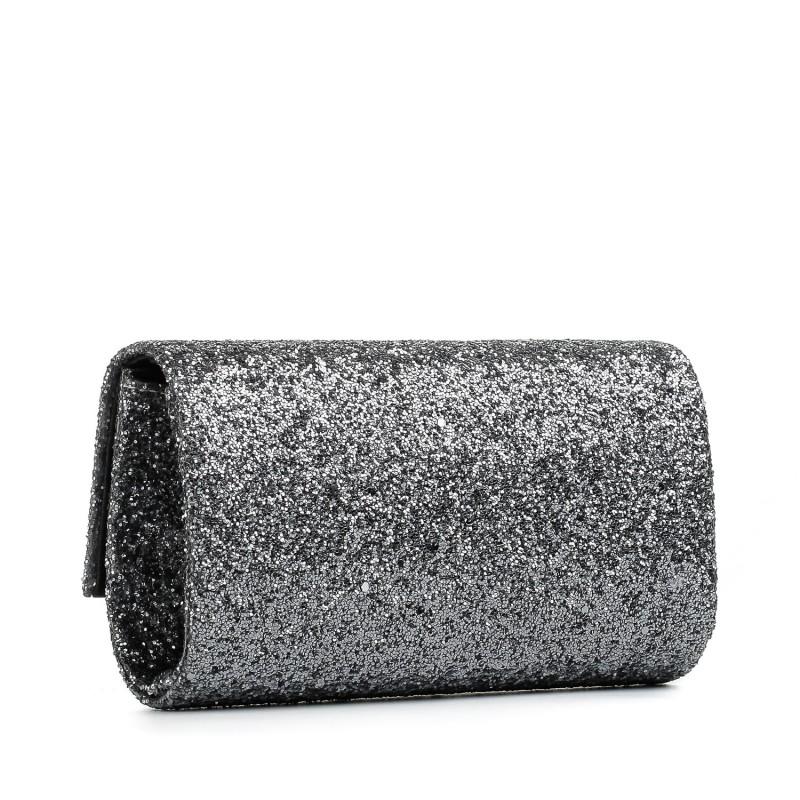 Клатч жіночий темно срібний з блискітками