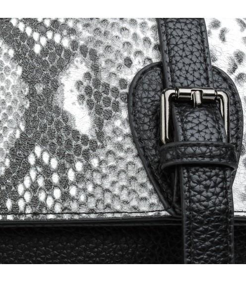 Сумка жіночам чорна з сірим  принтом змії NewFashion