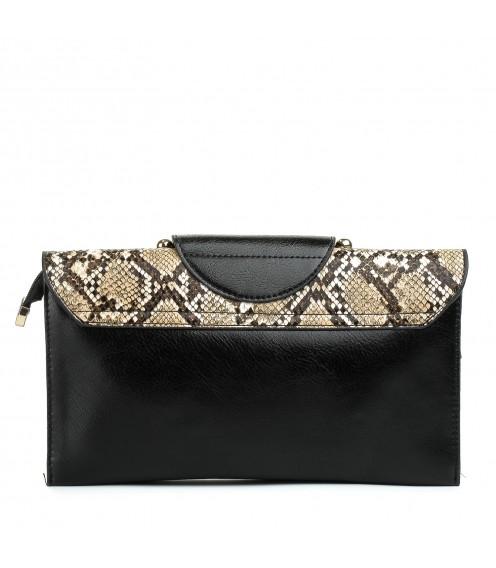Сумка-клач  жіночий чорний з принтом шкіри змії NewFashion