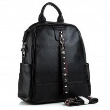 Рюкзак жіночий шкіряний чорний трансформер Polina