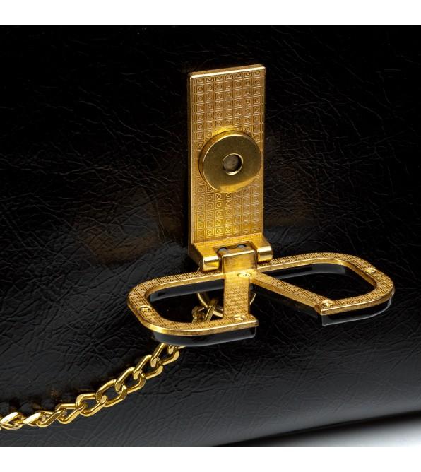 Сумка жіноча чорна декорована золотим ланцюжком Oliaver