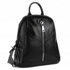 Рюкзак жіночий шкіряний чорний трансформер Oliaver