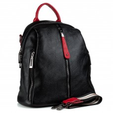 Рюкзак жіночий шкіряний чорний з червоними акцентами Oliaver