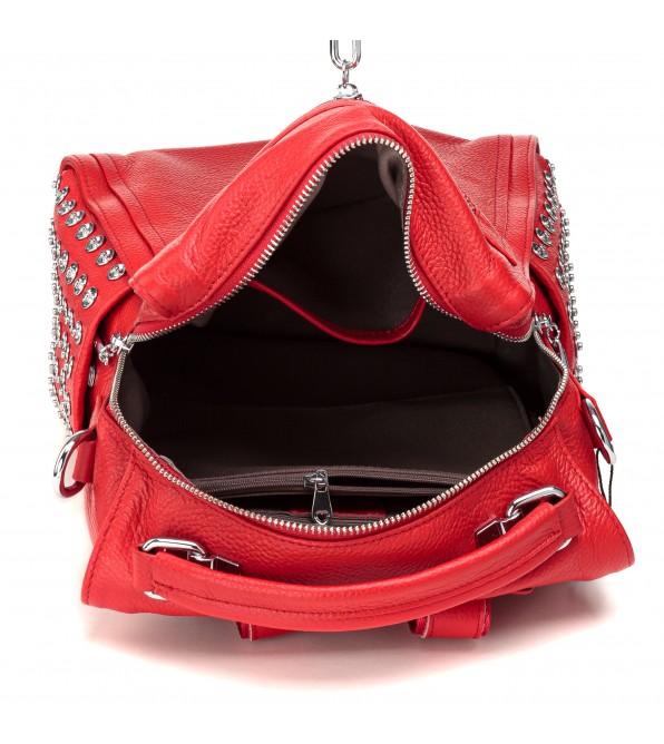 Рюкзак жіночий шкіряний червоний молодіжний Polina