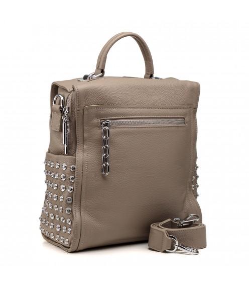 Рюкзак жіночий шкіряний бежевий молодіжний Polina