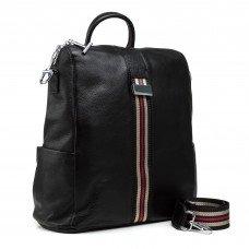 Рюкзак жіночий шкіряний чорний молодіжний Polina