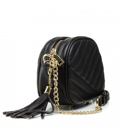 Сумка жіноча маленька, чорна, стьобана, модна Polina