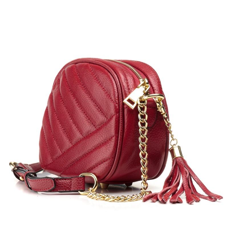 Сумка жіноча маленька, червона, стьобана, стильна Polina