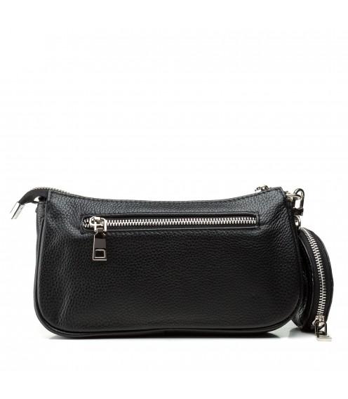 Сумка жіноча чорна, шкіряна, з гаманцем, зручна Polina
