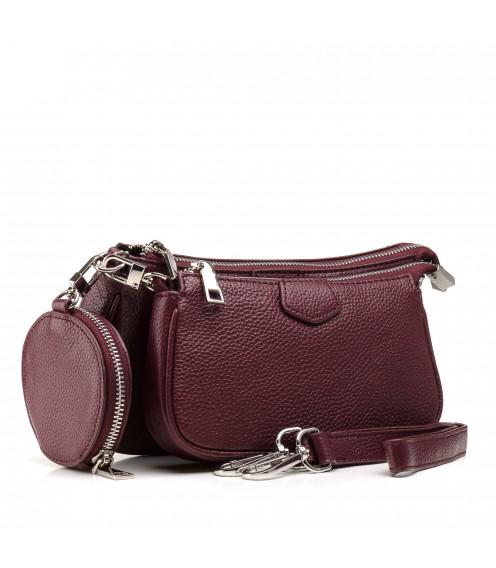 Сумка жіноча бордова, шкіряна, з гаманцем, невеличка Polina