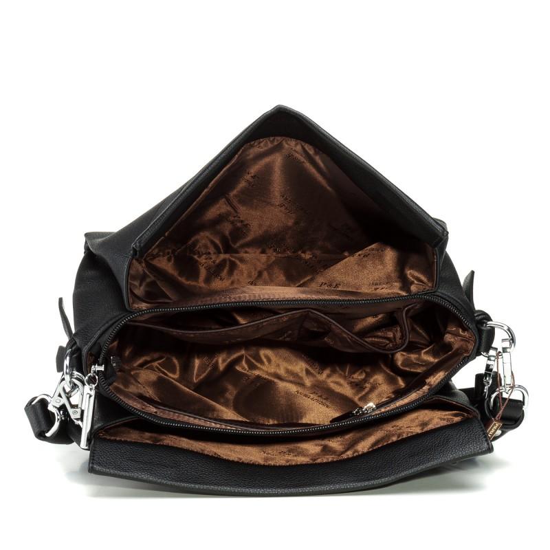 Сумка жіноча чорна, на магніті, з модним ремінцем Polina