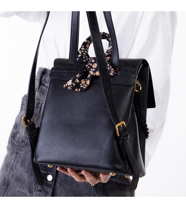 Рюкзак жіночий чорний з ланцюжком Oliaver