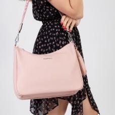 Сумка женская с брелком розовая большая через плечо Oliaver