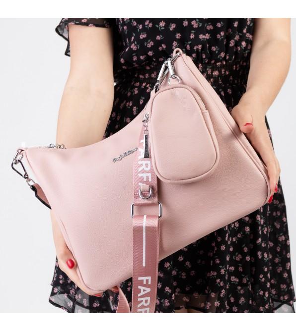 Сумка жіноча з брелком рожева велика через плече Oliaver