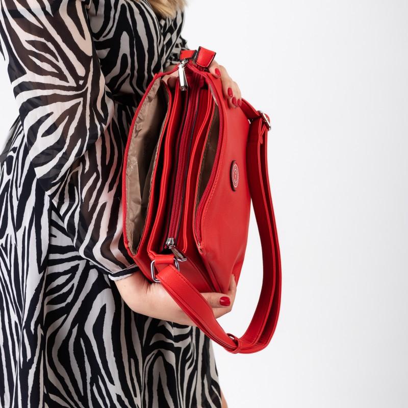 Сумка жіноча літня червона через плече Polina