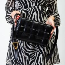 Сумка жіноча чорна з плетінням Polina