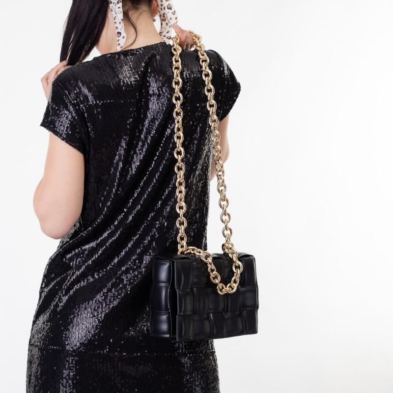 Сумка женская черная с плетением Brocoli