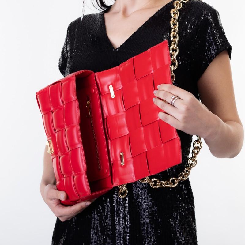 Сумка жіноча червона з плетінням Brocoli