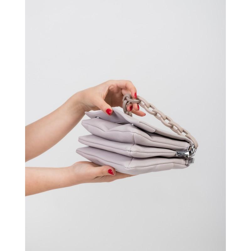 Сумка жіноча сіра з ланцюжком Brocoli