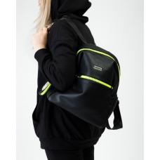 Рюкзак женский черный з яркой молнией Brocoli