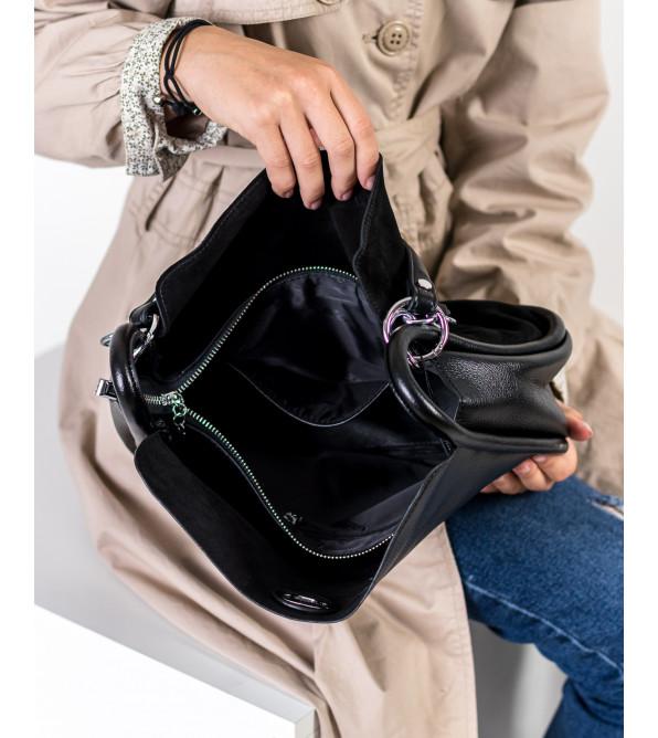 Сумка жіноча комбінована чорна Farfalla