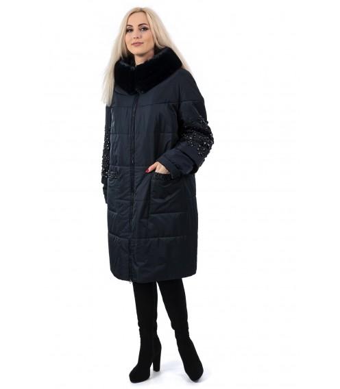 Пуховик жіночий синій зимовий з хутряним капюшоном з камнями