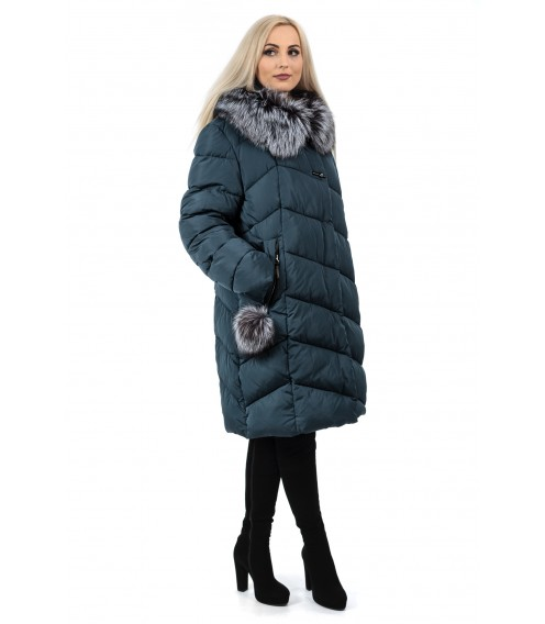 Пуховик жіночий зимовий синій капюшон з натуральним хутром