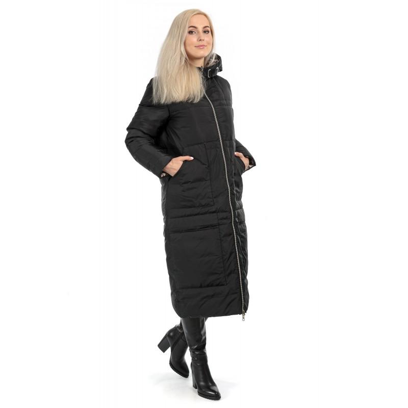 Пуховик двосторонній жіночий зимовий чорний (бронзовий)