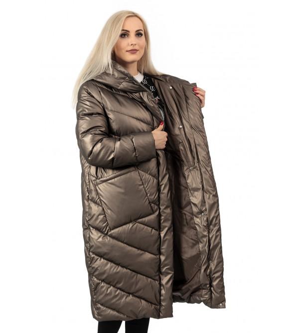 Пуховик жіночий зимовий бронзовий капюшон