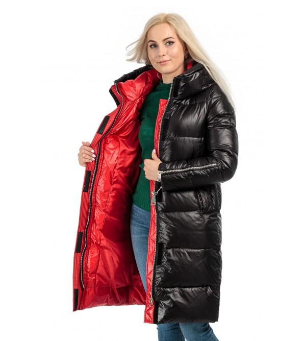 Пуховик жіночий зимовий чорний капюшон