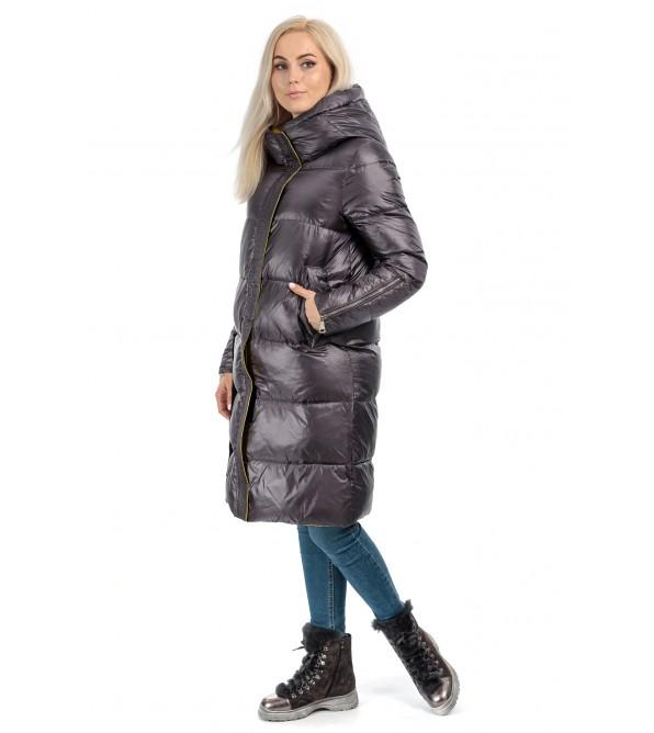 Пуховик жіночий зимовий сірий капюшон