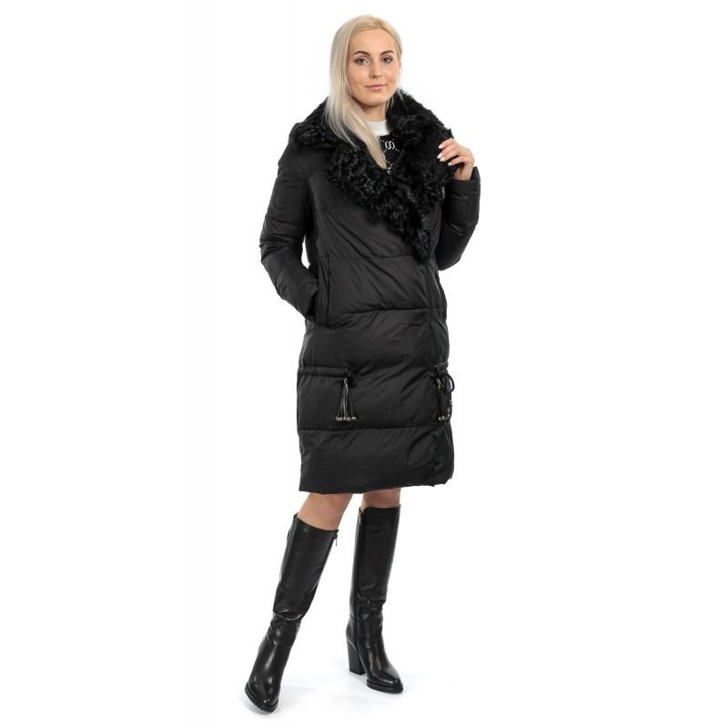 Пуховик жіночий зимовий чорний капюшон комір з натуральним хутром