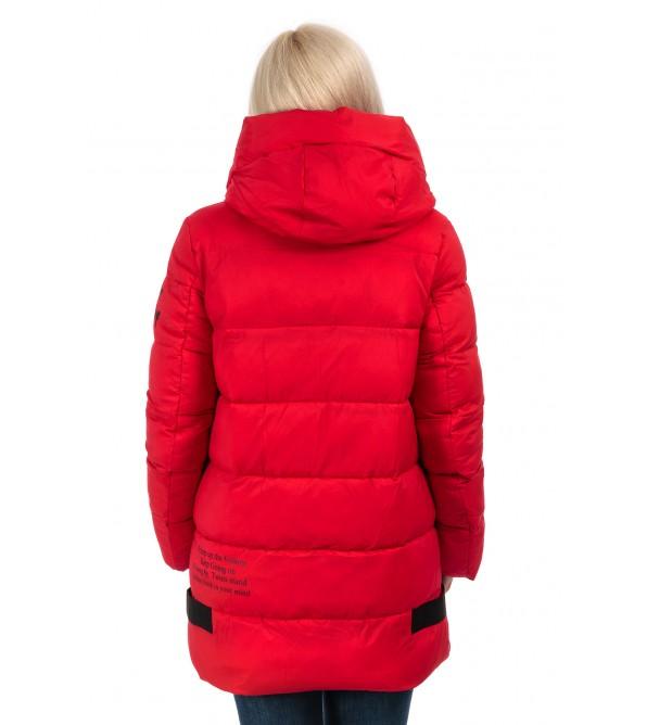 Пуховик жіночий зимовий червоний капюшон