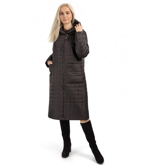 Пуховик жіночий зимовий темно-сірий капюшон