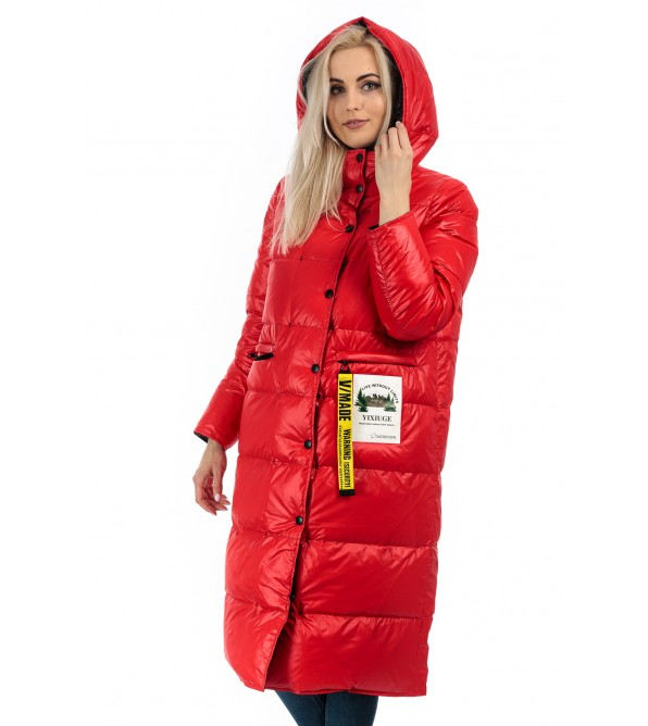 Пуховик двосторонній жіночий зимовий червоний(чорний) капюшон