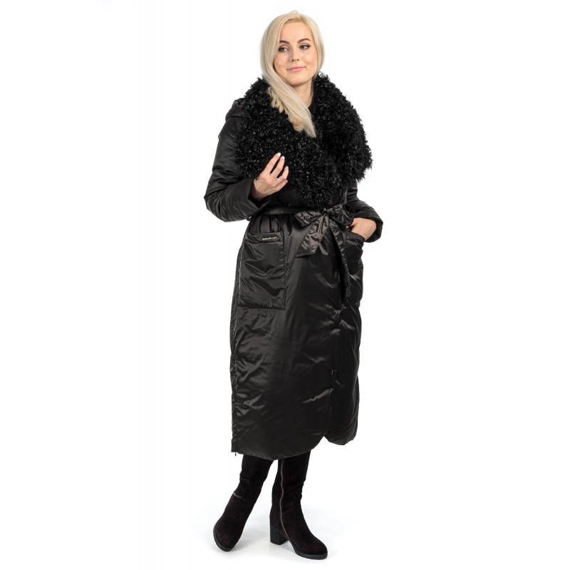 Пуховик жіночий зимовий чорний  капюшон комір натуральне хутро