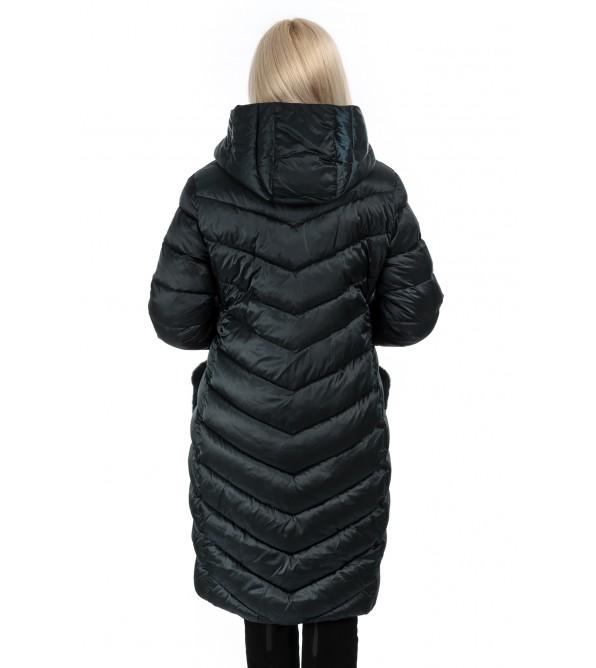 Пуховик жіночий зимовий темно-синій капюшон на кишенях натуральне хутро