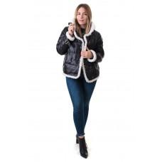Куртка женская черная с декоративным мехом