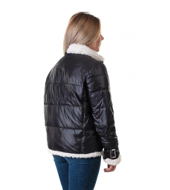 Куртка жiноча чорна з декоративним хутром