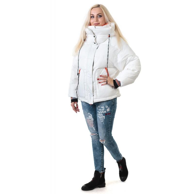 Пуховик жіночий білий спортивний TOWMY