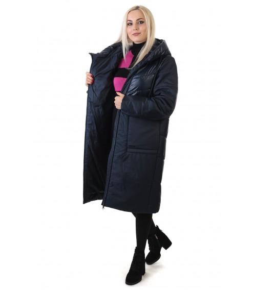 Пуховик жіночий синій довгий класичний Peercat
