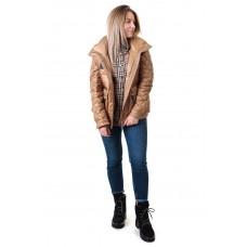 Куртка женская 2в1 коричневая стильная ZLLY