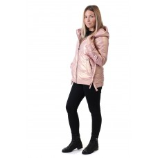 Куртка женская розовая с капюшоном ZLLY