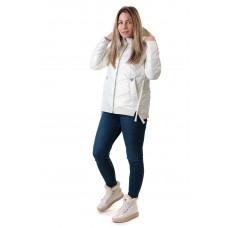 Куртка женская с капюшоном молочного цвета ZLLY
