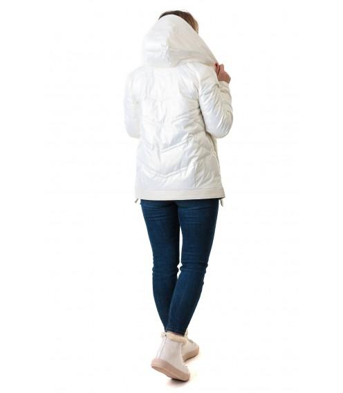 Куртка жiноча з капюшоном молочного кольору  ZLLY