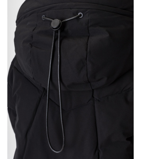 Пуховик жіночий чорний з капюшоном TOWMY