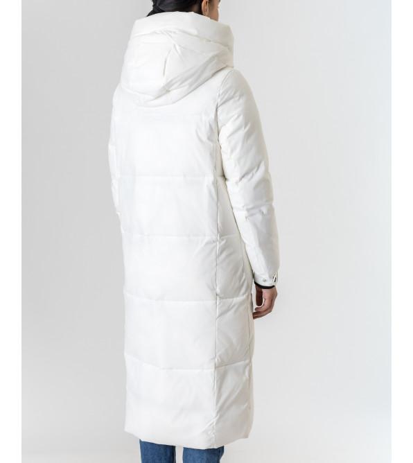 Пуховик жіночий білий довгий TOWMY